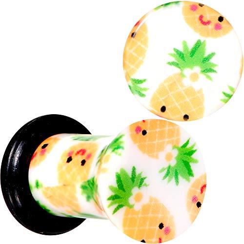 Body Candy 4G 2Pc Ear Plugs White Acrylic Pretty Pineapple Single Flare Ear Plug Gauges Set of 2 5mm