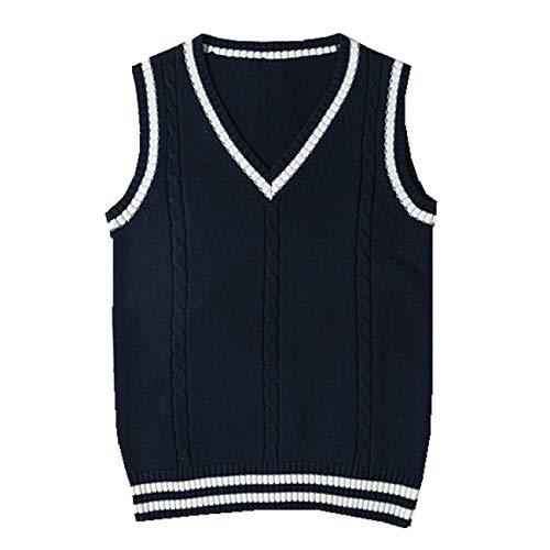 SERAPHY Baumwolle ärmelloser Pullover Klassische schulweste Jacke niedlichen v-Ausschnitt Schuluniform Strickwaren-RY-L