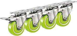 Heavy Duty PU wielen met remmen/draaischarnier/wielen voor meubels, vaste wielen, bescherm je vloer, 4 stuks (kleur: met r...