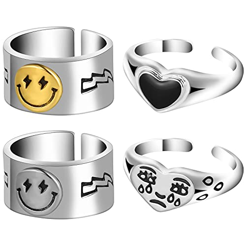Skisneostype 4 Pieces Smiley Face Ring Love Heart Ring Crying Face Rings...