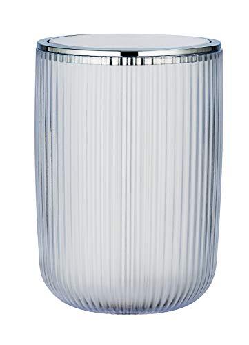 WENKO Schwingdeckeleimer Agropoli L Weiß - Kosmetikeimer mit Schwingdeckel, Badeimer Fassungsvermögen: 5.5 l, Kunststoff, 19 x 27 x 19 cm, Weiß