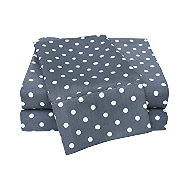 Superior Polka Dot Sheet Set, 600 Thread Count Cotton Blend Bedding Sets, Soft and Wrinkle Resistant Sheets with Deep Fitting Pockets - King, Grey