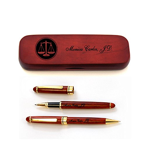 Thanh 39's Personalized Rosewood Case and Two Pens for Lawyers