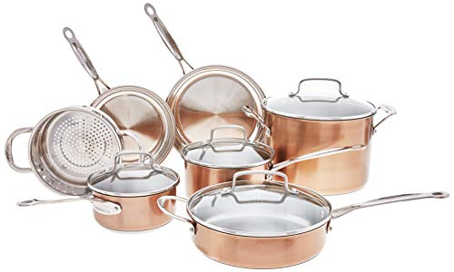 Cuisinart Chef's Classic Stainless Cookware Set, 11 Piece, Copper