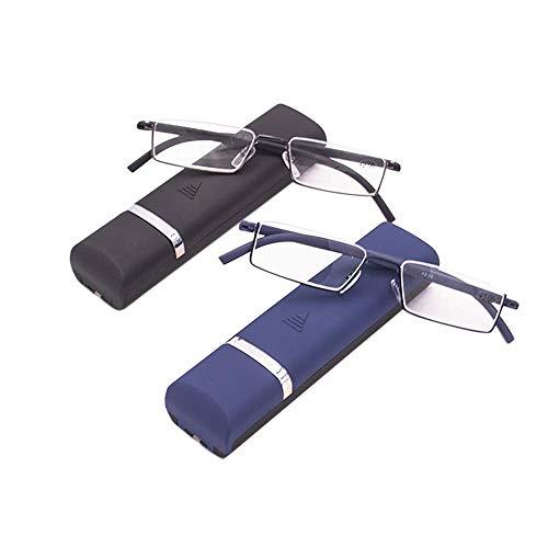 2 stueck Lesebrille mit Ultraleichtem TR90 Rahmen Lesehilfe Halbbrille aus Metallrahmen mit Halbrahmen Sehehilfe mit Brillenetui für Damen und Herren +1.5