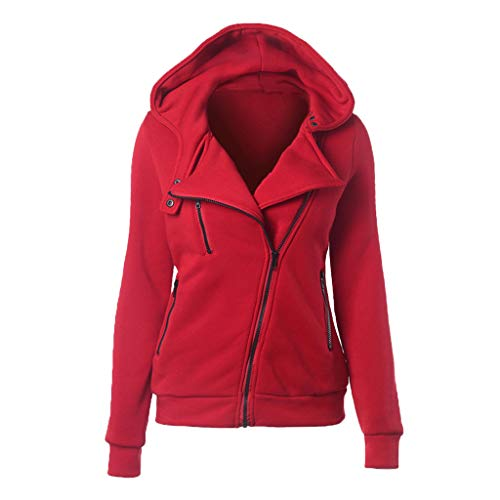 CixNy Jacke Damen Thermo Long Hoodie Zip Up Mantel Kapuze Slim Fit Warmer Mantel Freizeitjacken Langarm Winterjacke mit Diagonalem Reißverschluss Jackets Kapuzenjacke Freizeitkleidung (Rot, XS)