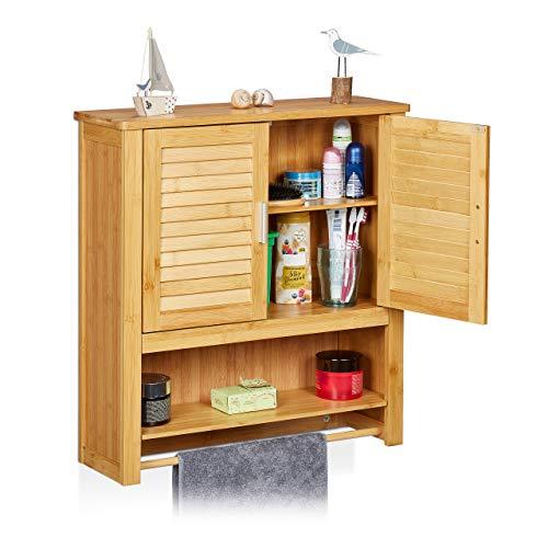 Relaxdays Hängeschrank LAMELL Bambus, mit Handtuchhalter, 3 Ablagen, 2 Türen, Badschrank, HBT: 66 x 62 x 20 cm, natur, 20x62x66 cm
