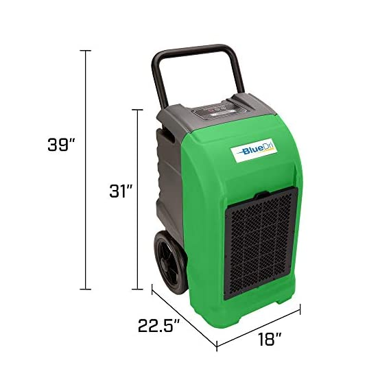 BlueDri BD-76 Water Damage Equipment Industrial Commercial Grade Large Dehumidifier for Home, Basements, Garages, and Job Sites - 76 AHAM/150 Saturation PPD, Pack of 8, Green 4 150 PINT DEHUMIDIFIERS - Ideal for water damage restoration projects of up to 150 pints per day at saturation (90ºF 90%RH)/76 PPD at AHAM (80ºF 60%RH), removing more water per day than normal 70 pint capacity dehumidifiers. CONVENIENT - This dehumidifier is packed with built in automatic water pump, digital panel, compact electrical control with auto restart, hour counter, RH and temperature sensors, drain hose, so you can get any job site done with just a few buttons. COMMERCIAL AND INDUSTRIAL USE - Designed to withstand the rigors of the toughest spaces, the BD-76 can go into construction zones and buildings damaged by flooding and other water accidents and work hard overnight or continuous for days at a time.