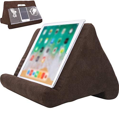 Souleden Tablet Soft Pillow Stand for iPads with Mesh Storage Pockets Multi-Angle Soft Bed Pillow Holder Lap Stand for Universal iPads Tablets Readers Books Magazines Kindle Brown