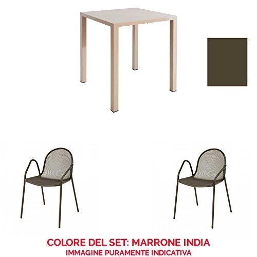 EMU Set de table Nova 70 x 70 cm + 2 fauteuils Nova Marron Inde