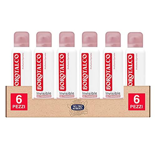 6x Borotalco Deo Spray Invisible No Transfer Deodorante Anti Macchie Extra Asciutto Senza Alcool ed Efficace 48h con Profumo Cipriato - 6 Deodoranti da 150ml ognuno
