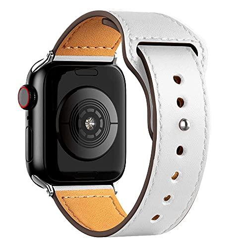 Ternzun Correa de cuero para Apple Satch Band 40 mm, 42 mm, 38 mm, 44 mm, accesorios para relojes inteligentes iWatch 3, 4, 5, 6 se (38 mm o 40 mm), color blanco