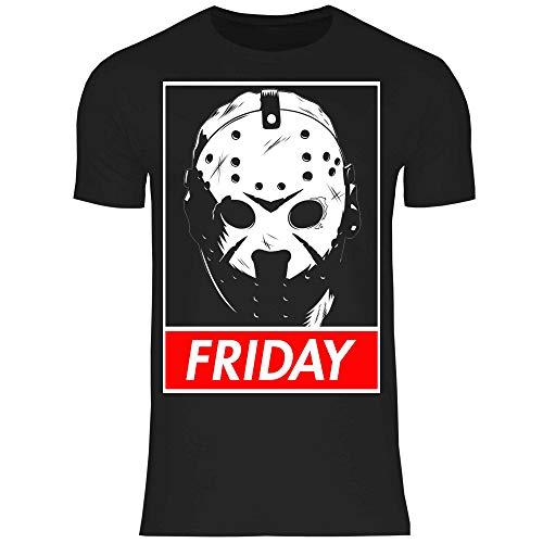 wowshirt Herren T-Shirt Freitag der 13. Horror Film Voorhees Jason Halloween Serienmörder, Größe:M, Farbe:Black