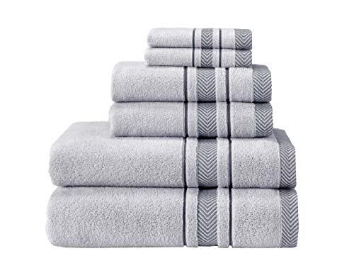 AROW9 - 6 Piece Plush Luxury Bath Towels Set for Bathroom & Spa - Absorbent & Soft Gift Towel 100% Turkish Cotton – Premium, Hotel Quality Terry Guest Towels - Dove's Comfort Design - Silver Grey