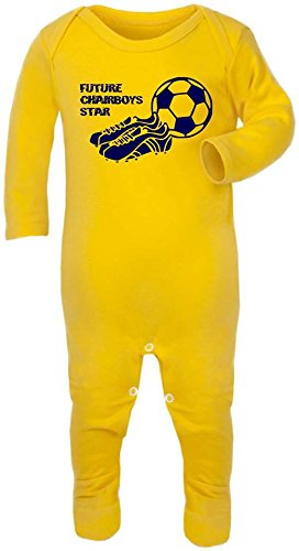Hat-Trick Designs - Wycombe Wanderers Football Baby Romper Sleep Suit-6-12M-Yellow-Future Star-Unisex Gift