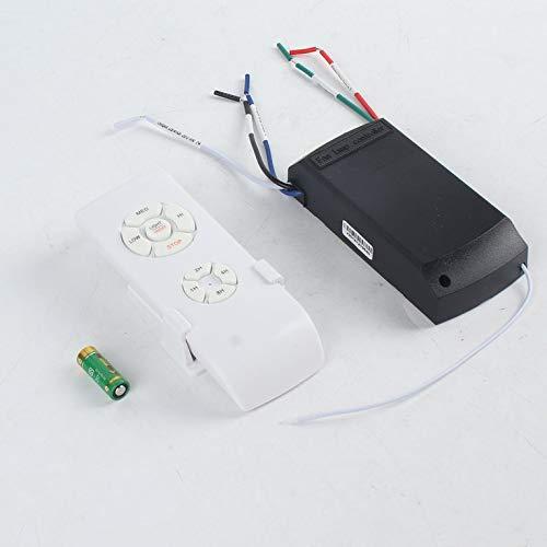 Ventilador de techo universal, con mando a distancia, 110-240 V, con temporizador, control inalámbrico, emisor de velocidad del viento, color blanco