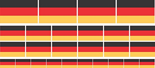 INDIGOS UG Mini Aufkleber-Set - selbstklebend - Deutschland Flagge - 3 verschiedene Größen in einem Set - UV- und Wetterbeständig