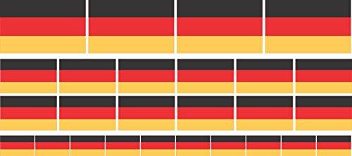 Mini Aufkleber Set glatt - 4x 51x31mm+ 12x 33x20mm + 10x 20x12mm- Sticker - Fahne - Germany - Deutschland - Flagge / Banner / Standarte fürs Auto, Büro, zu Hause und die Schule - Set of 26