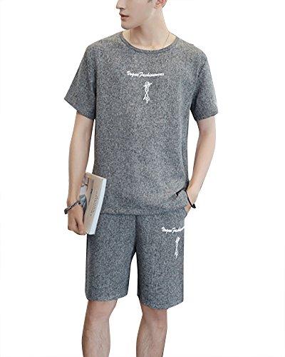 Hombre Lino Camiseta De Cuello Redondo Pantalones Jogging Imprimir 2 Piezas Chandal 5XL Gris