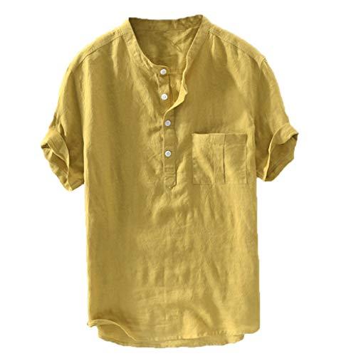 MEIbax Moda Explosión Simple Color sólido Algodón y Lino botón Camisa Manga Corta Hombre Camisa Suelta Casual de Hombres Camiseta de Hombre cómoda y Transpirable Ropa de Hombre