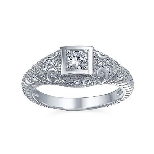 Bling Jewelry 1CT Deco Style Quadrata Solitario Rotonda AAA CZ Milgrain Anello di Fidanzamento per Donne Argento 925