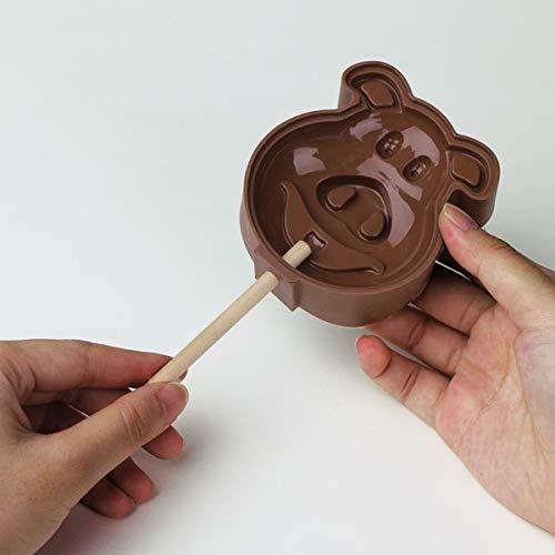 GPANDME Chien/en Forme de Cheval Lollypop Moules avec 12 bâtons en Bois, en Silicone, Marron, 30 x 30 x 30 cm