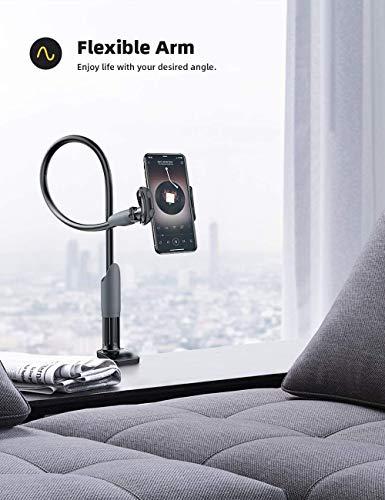 #Diom Handy Halter für Bett, extrem stabil, Schwanenhals Handy Halterung - Universal Handy Ständer für iPhone 11 Pro XS Max XR X 8 7 6S Plus, Samsung S10 S9 S8 S7, 4-6,5 Zoll Smartphone -Schwarz