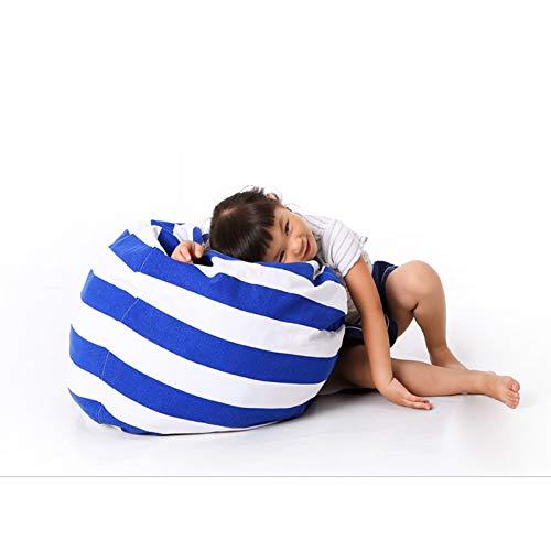 Chenyu Bolsa de almacenamiento grande para juguetes para niños, de peluche, suave, de tela a rayas, tamaño L (azul oscuro)