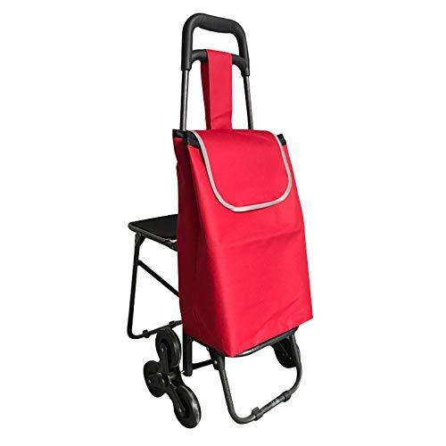 ZGYQGOO Mehrzweck-Faltwagen mit integriertem Sitz für Wäsche, Lebensmittel, Shopping, Treppensteigen und mehr