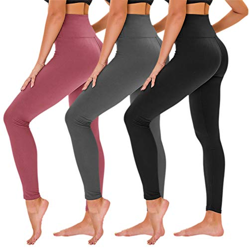 TNNZEET High Waisted Leggings for Women - Tummy Control Full Length Tights for Athletic Yoga - Regular & Plus Size