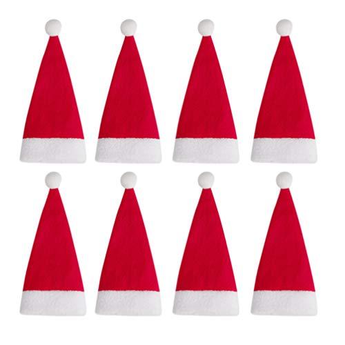BESPORTBLE 24 Stück Mini Weihnachtsmann Hut Weihnachtsmütze Besteck Veranstalter Tasche Weinflaschenverschluss Tasche Schneider Gabeln Abdeckungen Tasche für Küchenparty Home Decoration