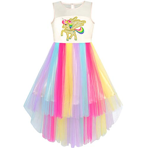 Girls Dress Embroidered Unicorn Rainbow Holiday Pageant 8