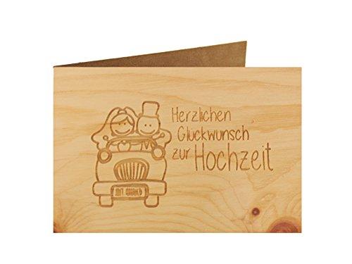 myZirbe - Hochzeitskarte - 100% handmade in Österreich - Postkarte Glückwunschkarte Geschenkkarte Grußkarte Klappkarte Karte Einladung, Motiv:HERZLICHEN GLÜCKWUNSCH ZUR HOCHZEIT Zirbe