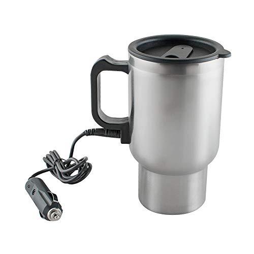 Taza de viaje electrica de 12 V de acero inoxidable para cafe, te, calentador de taza de te, control de temperatura en el coche para calentar agua, cafe, leche, cargador de coche