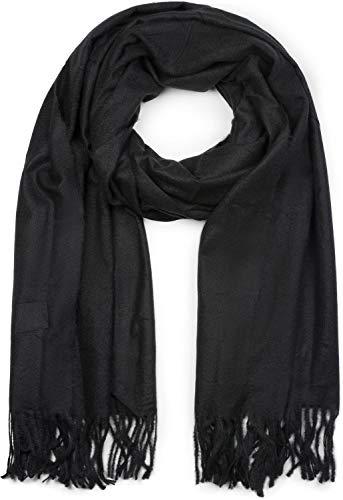 styleBREAKER Unisex weicher uni Schal mit Fransen, Winter, Stola, Tuch 01017104, Farbe:Schwarz