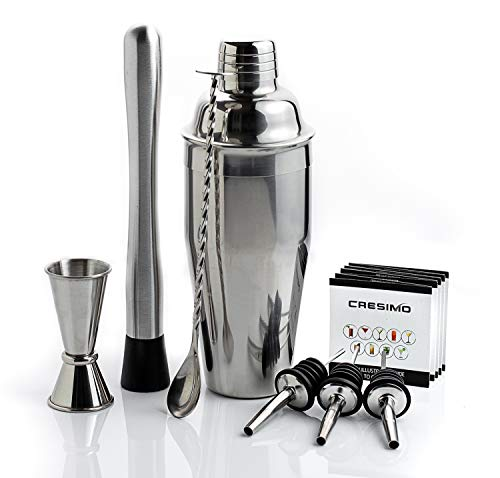 24 Ounce Cocktail Shaker Bar Set with Accessories - Martini Kit with Measuring Jigger, Mixing Spoon, Muddler and Liquor Pourers plus Drink Recipes Booklet - Professional Bartender Drink Making Tools