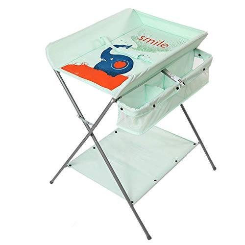 LJYY Klappbarer Wickeltisch für kleine Räume, Wickelkommode für Kleinkinder mit Aufbewahrung, 0-3 Jahre alt, Grün/Grau (Farbe: Grün)