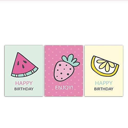 zhaoyangeng Cartoon Erdbeere Wassermelone Limonade Poster Leinwand Bilder Obst Malerei Mädchen Moderne Haus Wandkunst Dekor- 50X70Cmx3 Kein Rahmen