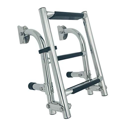 sharprepublic roestvrijstalen badladder met 3 traps klapladder telescopische ladder rubberbootrap