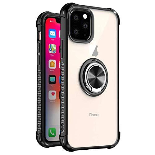GOBY Coque iPhone 11 pro Case TPU Slim Fit avec Support de Bague Silicone Gel Anti Mince Placage Bumper Housse Lustre Métal 360° Bague Support Téléphone Voiture Etui (noir)
