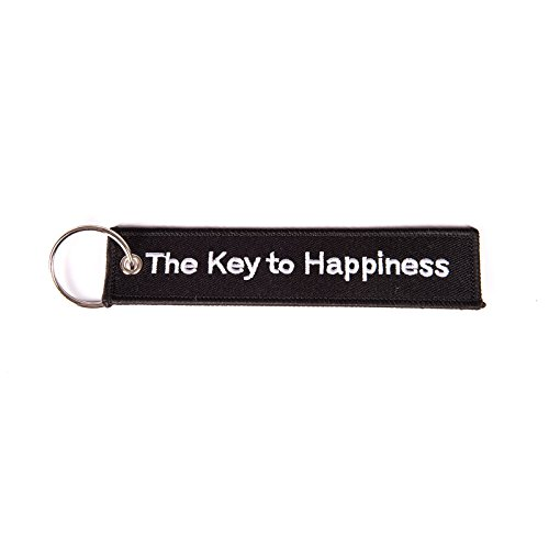 Schlüsselband The Key to Happiness, schwarz/weiß Schlüsselanhänger - Der Schlüssel zum Glück