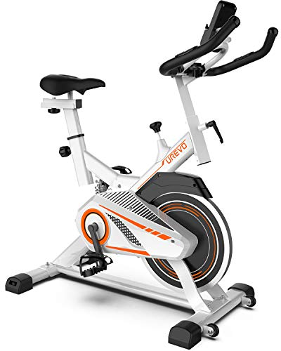 UREVO Indoor Cycling Bike Stationary Exercise Bike Magnetic Resistance with Silent Belt Drive LCD Display Phone Holder Floor Mat Comfortable Seat Cushion for Home Cardio Gym Workout Bike Training