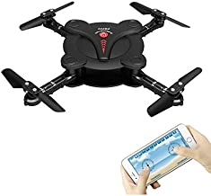 HobbyLane Altitude Hold Foldable Drone with Camera FPV, Flexible Foldable Aerofoils Quadcopter with Mobile Phone App Wifi Control, UAV 6-Axis Gyro Gravity Sensor RTF Helicopter Toys for Adults (Black)