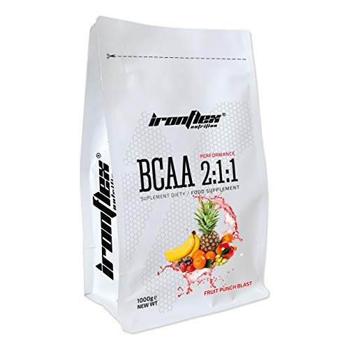 Iron Flex BCAA 2-1-1-1 Pack - Branched Chain Amino Acids in Powder - Muscle Regeneration - Anticatabolic (Fruit Punch Blast, 1000g)