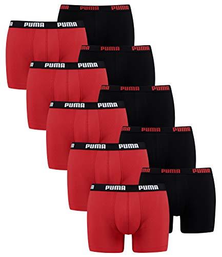 Puma 10 er Pack Boxer Boxershorts Men Herren Unterhose Pant Unterwäsche, Bekleidungsgröße:L, Farbe:786 - Red/Black