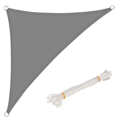 WOLTU Sonnensegel Dreieck 5x7x7m Grau atmungsaktiv Sonnenschutz HDPE Windschutz mit UV Schutz für Garten Terrasse Camping