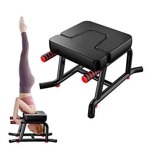 Papepipo Stabil Yoga Kopfstandhocker Yogahocker - Kopfstandstuhl mit Armlehnen und verdickten Schulterkissen(Schwarz)