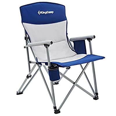 KingCamp Oversized Camping Chair High Back Quad Chair with Cup Holder and Padded Hard Armrest Heavy Duty Support 300lbs Folding Chiar for Outdoor, Beach, Backpacking, Picnic