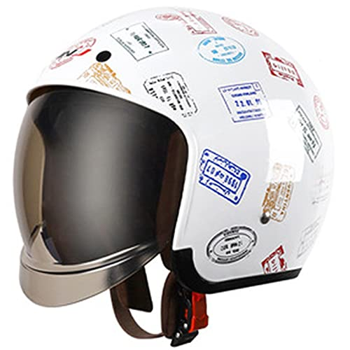 ABDOMINAL WHEEL Casco Moto Jet,Medio Casco de Moto con Visera Solar,ECE Homologado Four Seasons Universal Casco Moto,Cruiser Bike Chopper Jet Casco D,L=59~60cm