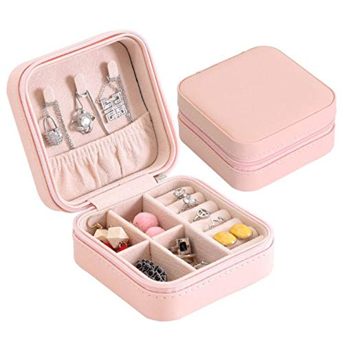 Jewelry Travel Bag, Small Jewellery Box Organiser for Rings, Earring Necklaces Faux Leatheras- Pink